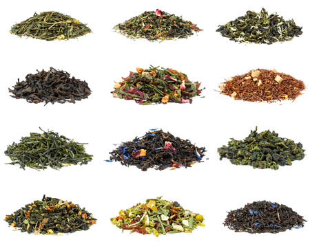 Set of black and green tea with additives