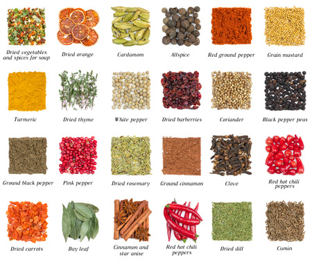 sweet mustard: Set of spices isolated on white background Stock Photo