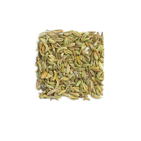 Seasoning fennel seeds isolated on white background photo