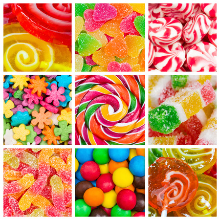 Collage of different colorful  candy and sweets Фото со стока