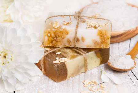 Aromatic spa. Handmade soap with oat flakes. photo