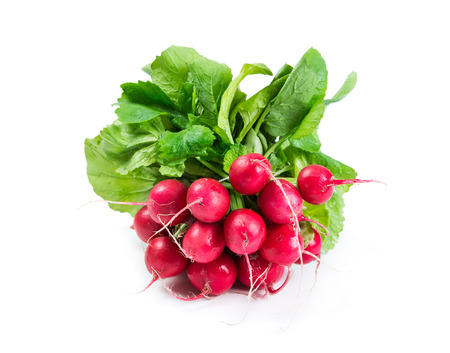 Bunch of radishes isolated on white background Фото со стока