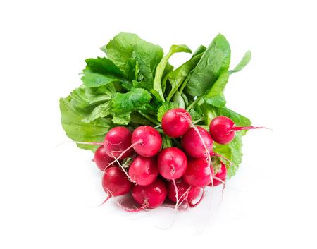 Bunch of radishes isolated on white background photo