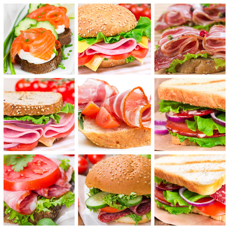 Collage of sandwiches with ham and salmon photo