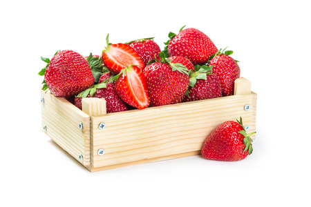 wooden box: Strawberries in wooden box isolated on white background  Stock Photo