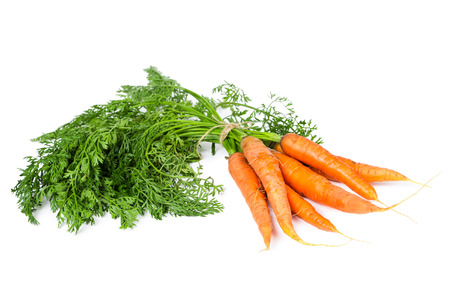 Fresh ripe carrots isolated on white background Stock Photo