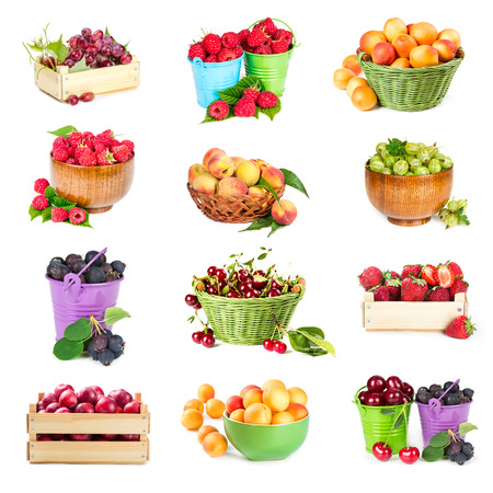 Set of berries and fruits in packagings isolated on white background photo
