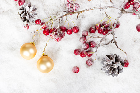 Christmas-tree balls on a branch with red berries and pine cones on snowy background photo