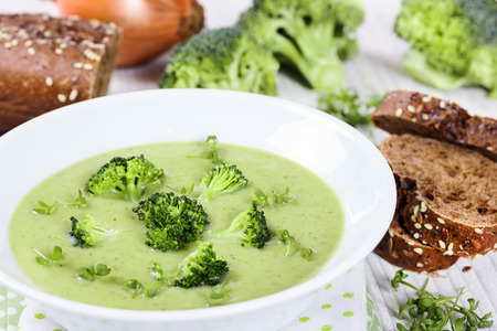 Cream soup from broccoli photo