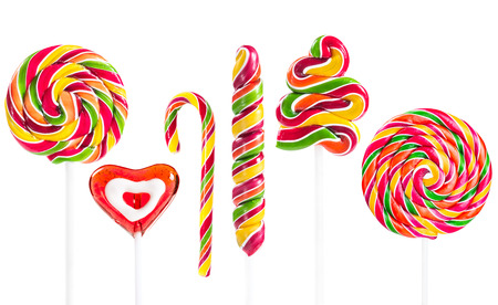 Set of colorful lollipop isolated on white background photo