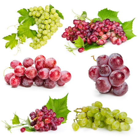 Set of red and green grapes isolated on white background