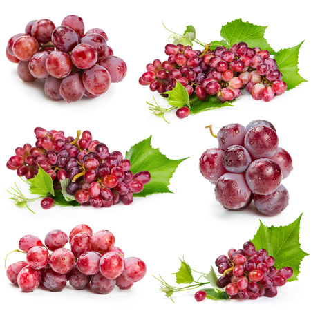 grape juice: Set of red grapes isolated on white background Stock Photo