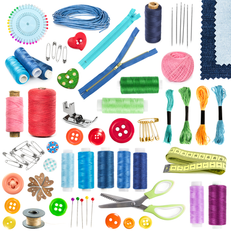 Accessories and tools for sewing isolated on white background