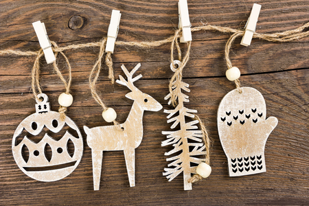 deer: Wooden christmas decoration - christmas ball, deer, tree and mitten