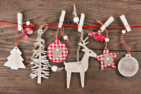 christmas tree decoration: Wooden christmas decoration - christmas ball, deer, tree and star