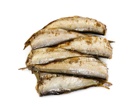 sardine can: Smoked sprats fish isolated on white background. Top view. Stock Photo