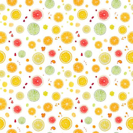 水彩柑橘系の果物は、白い背景で隔離。シームレス パターン。 写真素材
