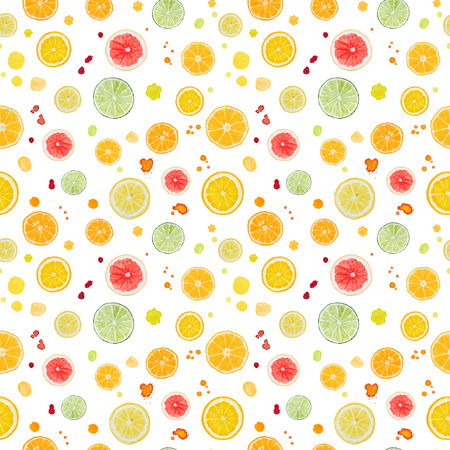 Watercolor citrus fruit isolated on white background. Seamless pattern.