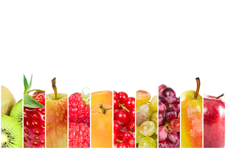 Collage of fresh fruits and berries in the form of vertical stripes on white background.