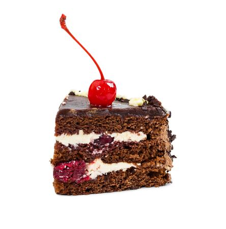 Piece of chocolate cherry cake isolated on white background. Stock Photo