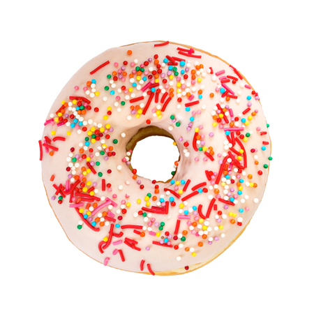 Donut with colorful decoration isolated on white background. Top view.