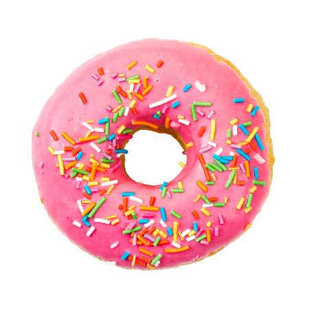 Donut met kleurrijke sprinkles geïsoleerd op een witte achtergrond. Bovenaanzicht. Stockfoto