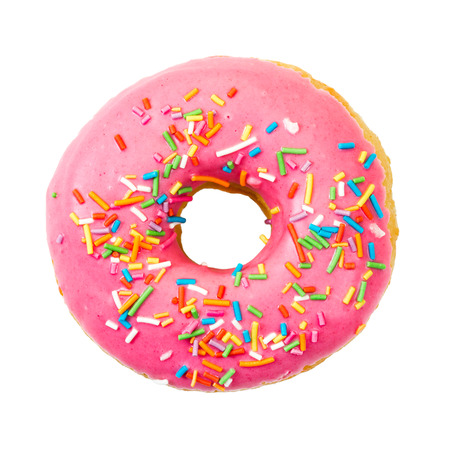 an icing: Donut with colorful sprinkles isolated on white background. Top view.