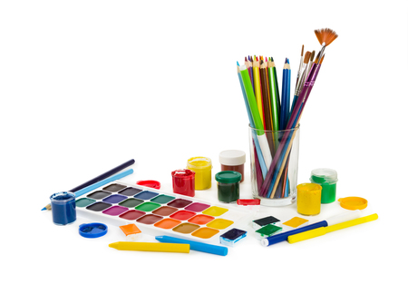felt tip: Colored pencils, felt tip pens, chalks, brushes and paint for painting isolated on white background. Tools of artist.