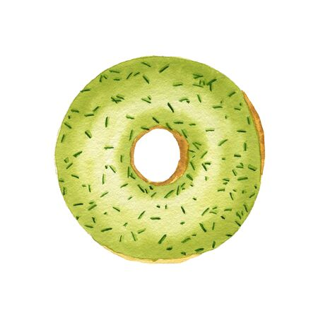 Watercolor green donut with sprinkles isolated on white background. Top view. Stock Photo