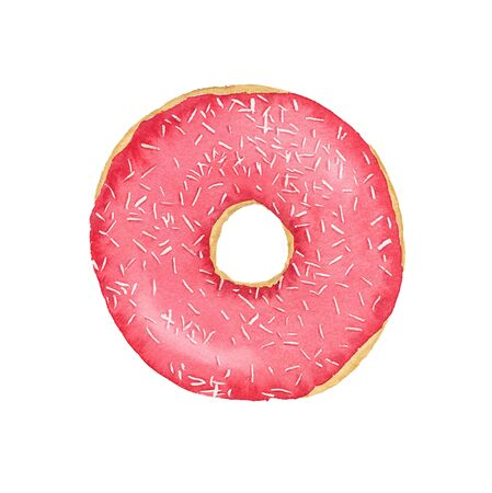 Watercolor strawberry donut with frosting and sprinkles isolated on white background. Top view. Stock Photo