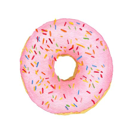 Watercolor pink with decorative sprinkles donut isolated on white background. Top view.