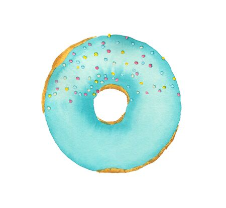 Watercolor donut with blue frosting isolated on white background. Top view.