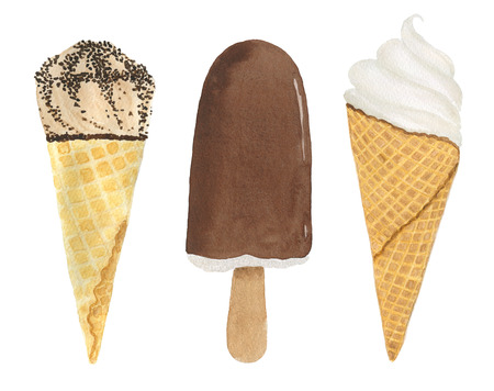 Set of three ice cream isolated on white background. Watercolor illustration.