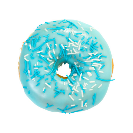 Donut with blue glaze and blue and white sprinkles isolated on white background. Top view.