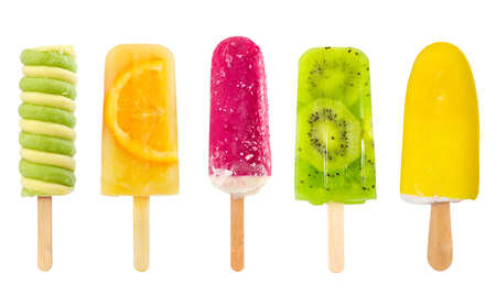 Set of fruit popsicle isolated on white background 写真素材