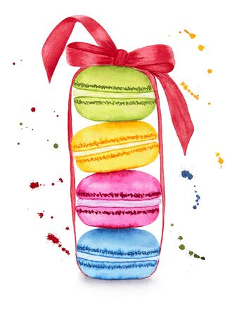 Colorful macaroons with ribbon isolated on white background. Hand drawn watercolor illustration.