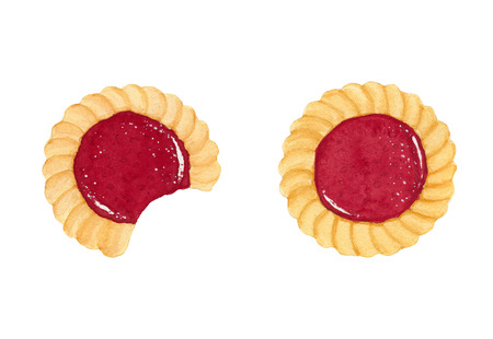 Two watercolor shortbread cookies with fruit jam isolated on white background. Top view.