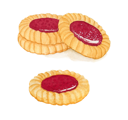 shortbread: Set of watercolor shortbread cookies with fruit jam isolated on white background.