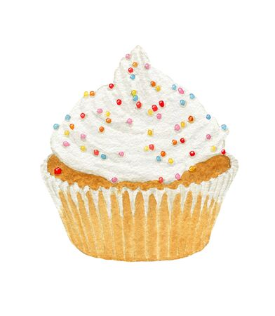cupcakes isolated: Watercolor cupcakes with cream and decorative sprinkles isolated on white background. Stock Photo