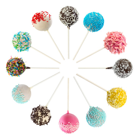 Set of various cake pops isolated on white background