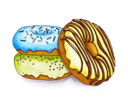 Three colorful donut isolated on white background. Hand drawn marker illustration. Stock Photo