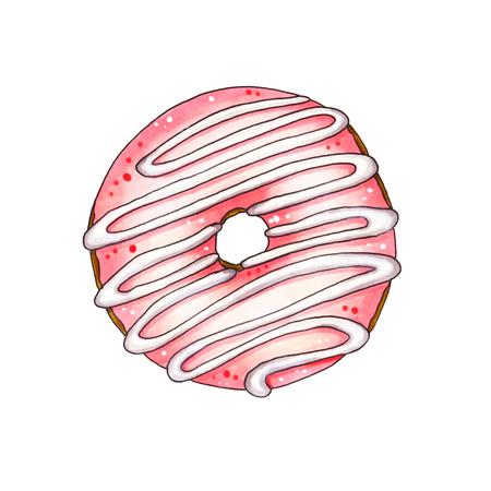 glaze: Donut with pink glaze isolated on white background. Hand drawn marker illustration.