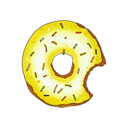 Bitten donut with yellow glaze and sprinkles isolated on white background. Hand drawn marker illustration.