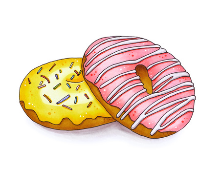 glaze: Two colorful donut isolated on white background. Hand drawn marker illustration.