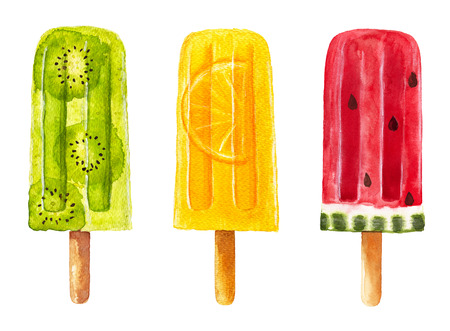 Set of fruit popsicle isolated on white background. Watercolor hand drawn illustration. Stock Photo