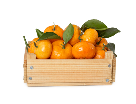 Wooden box with fresh mandarins isolated on white background. Stock Photo