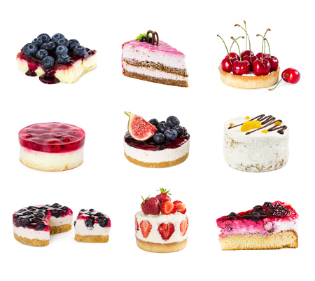 Set of desserts isolated on white background. Cake, pie and cheesecake.