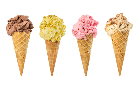 Set of ice cream in waffle cone isolated on white background.