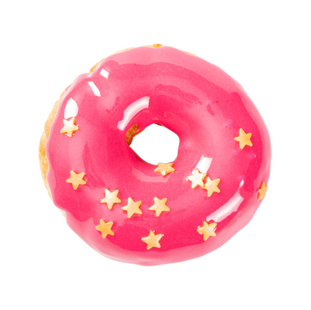 Donut with pink glossy mirror glaze isolated on white background. Top view.