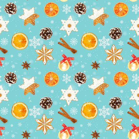 Seamless pattern with Christmas gingerbread cookies in the shape of snowflakes, dried oranges, cinnamon, star anise, christmas ball and pine cone on blue background.